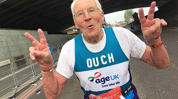 ohn Starbrook, the oldest marathon runner, running for Age UK in the 2018 London Marathon